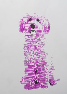 illustration pink dog, art for sale