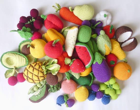 gehäkeltes Obst und Gemüse